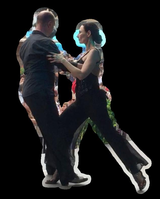Colgadas sind Tango Figuren, wo beide, Führender und Geführte, ihre eigene Achse aufgeben und sich um eine gemeinsame Achse rotierend-tangential beim Tango Argentino bewegen.